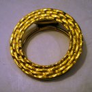 Perfect textured gold tone circle scarf clip excellent vintage ll2427
