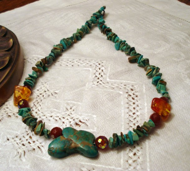 Rough turquoise necklace with amber and faceted beads artisan vintage ll2440