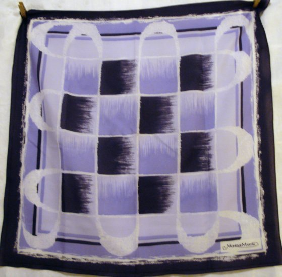 Monique Martin scarf synthetic abstract squares purple lilac excellent vintage ll2455