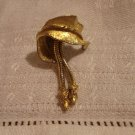 ART leaf earrings snake chain tails gold tone clip on vintage ll2462