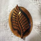 Stylized leave on oval disk copper pin brooch mid century vintage ll2463