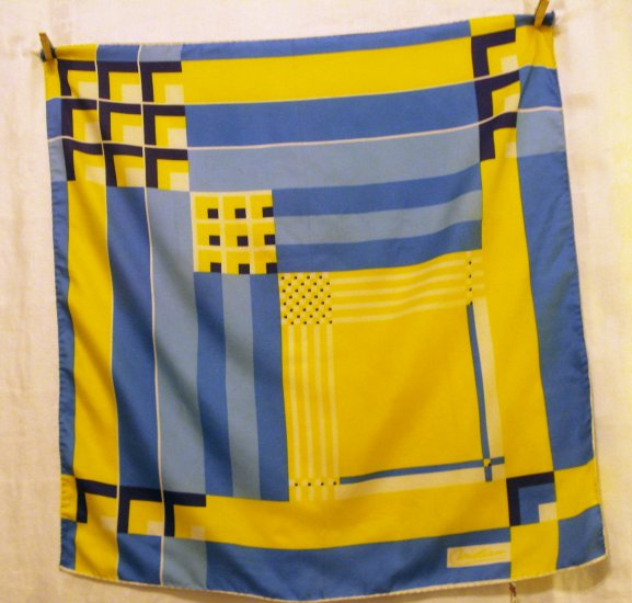 1960s modern art design scarf polyester Italy rolled hem vintage ll2475
