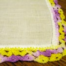 Linen hanky varigated crocheted lace edge vintage ll2476