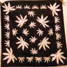 Cotton scarf bandana white leaves on black unused  ll2493