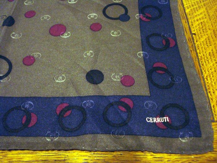 Cerruti silk pocket puff hanky gray red blue signed rolled hem unused vintage ll2497
