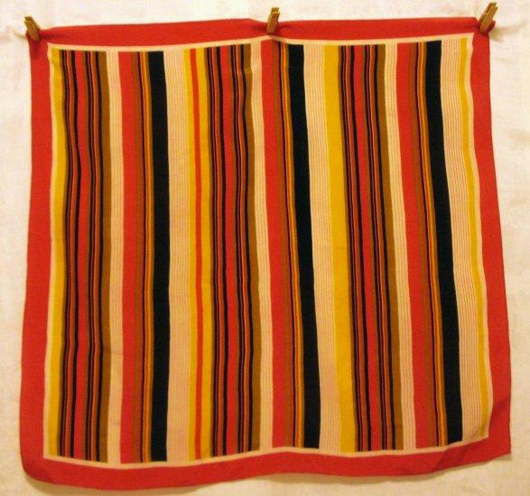 Striped silk square scarf Jacob's coat excellent vintage  ll2499