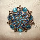 Blue rhinestones in silver potmetal pin brooch vintage costume jewelry ll2512