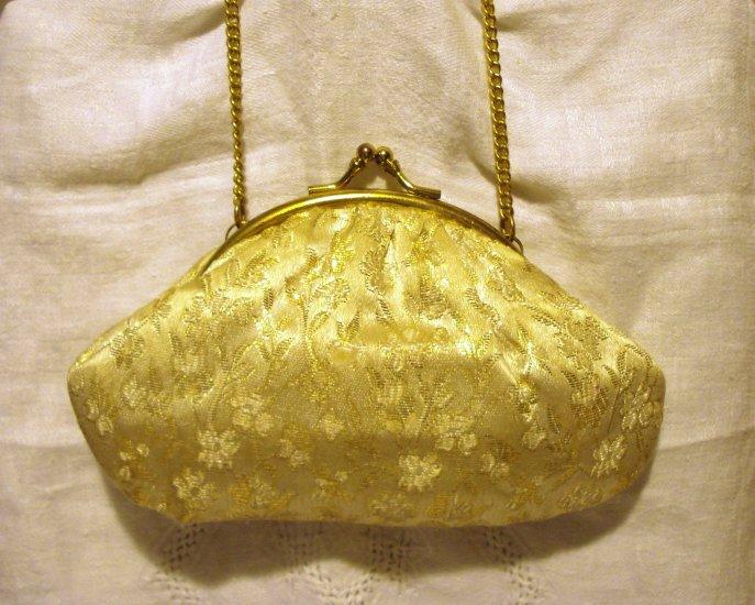 Lurex brocade evening bag kiss closing wrist chain gold excellent vintage ll2516