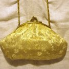 Lurex brocade evening bag kiss closing wrist chain gold excellent vintage ll2516