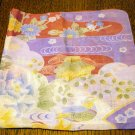 Japanese print cotton hanky iris chrysanthenum peony unused ll2517
