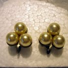 Triad of cultured pearls screwback earrings lustrous vintage ll2526