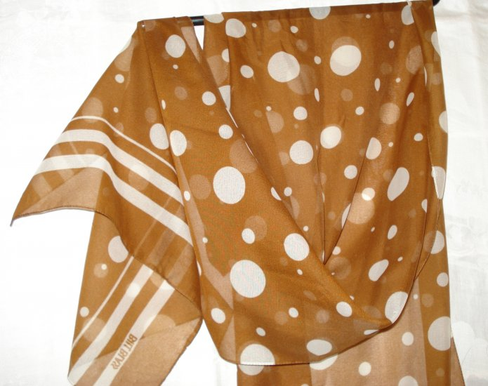Bill Blass silk chiffon long scarf polka dots white on brown excellent vintage ll2537
