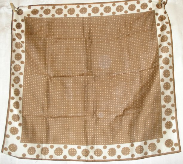 Brown scarf white polka dots rayon nylon unused vintage ll2540