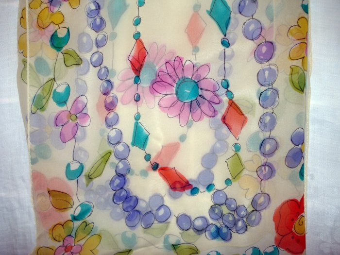Ann Taylor long silk chiffon scarf or stole watercolor flowers beads superior vintage ll2541