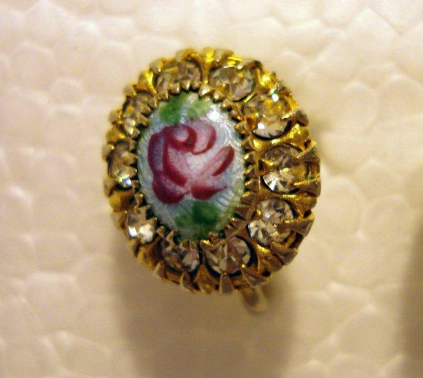 Vargas RI blue guilloche screwback earrings rosebuds rhinestones vintage costume jewelry ll2543