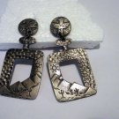 Hammered metal pierced drop earrings Southwest motif eagle cacti vintage costume jewelry ll2547