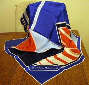 Helena Rubinstein modernist acetate scarf red white blue aqua vintage ll2562