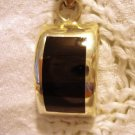 Mexico 925 Sterling silver onyx pendant mid century modern perfect vintage ll2564