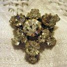 Rhinestone brooch pin snowflake vintage costume jewelry ll2566