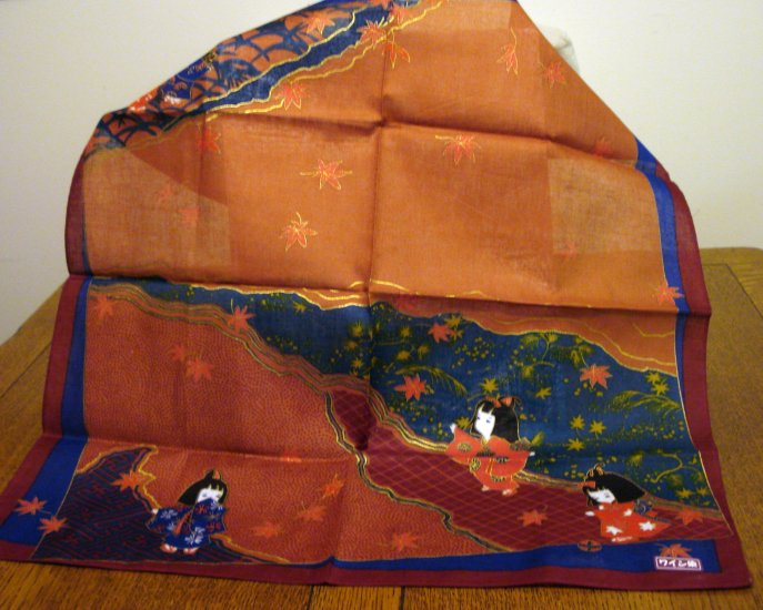 Japanese kimono print cotton bandanna scarf little girls perfect unused with tag ll2578