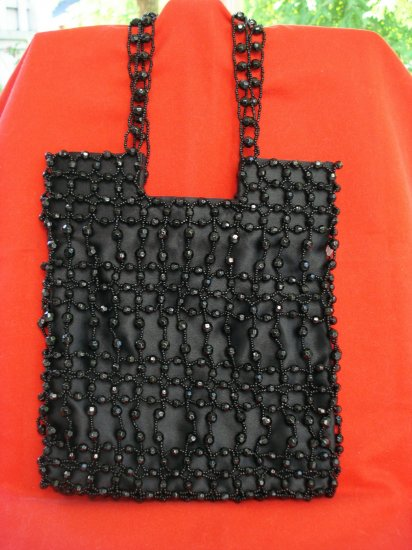Black faux jet bead satin evening bag exclusively for Giorgio Beverly Hills superior vintage ll2623