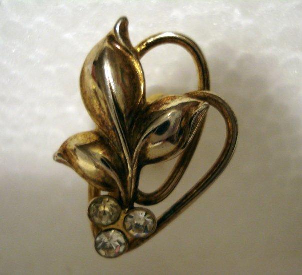 Bond Boyd Sterling earrings screwback leaves tendrils rhinestones excellent vintage ll2629