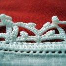 White linen hanky with crocheted border vintage handkerchief   ll1657