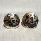 925 Sterling silver abalone inlay button earrings screw back excellent vintage ll2646