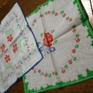 Lot of 2 printed cotton hankies printed lace blue green floral centers vintage ll2655