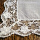 White linen hanky with daisy net lace edging excellent antique ll2658