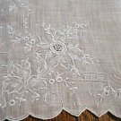 White linen wedding hanky elaborate Madeira embroidery threadwork excellent antique ll2660