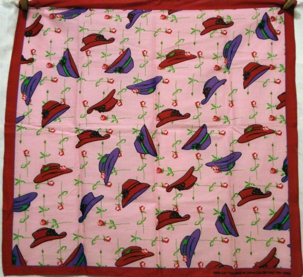 Red Hat Society cotton bandana scarf hats roses pink red purple pre-owned ll2667