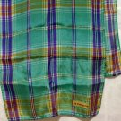 Liz Claiborne long silk scarf aqua deep lilac plaid very good vintage ll2672