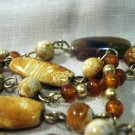 Rope necklace linked beads natural look plastic vintage ll2677