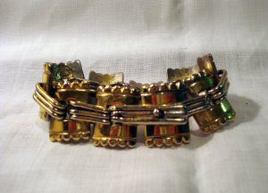 Coro sterling silver heavy link bracelet gold vermeil crenelated turrets 1940s Mexico vintage ll2686
