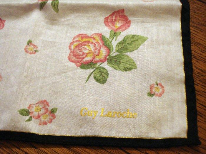Guy Laroche cotton scarf or bandana roses rolled hem very good vintage ll2699