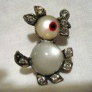Double jelly belly animal or creature pin brooch with rhinestones vintage ll2730