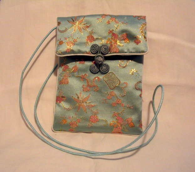 Aqua pink gold satin brocade evening bag frog closure long cord strap excellent pre-owned ll2737