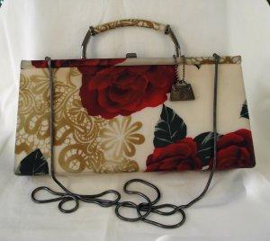 American Beauty roses Jeanne Lottie fabric evening bag shoulder or handle very good vintage ll2739