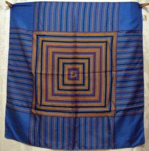 Radiating squares Italian made silk scarf rolled hem large blue orange rust excellent vintage ll2746