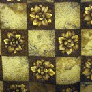 Elaine Gold Collection XIIX straw flowers on checkerboard silk scarf square brown tan as new ll2756