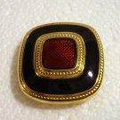 Classic clip earrings gold tone enamel cloisonne squares excellent vintage ll2767