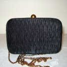 Goldco shirred satin black evening bag box shape shoulder chain vintage ll2773