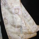 Delicate brown floral print on ecru long silk scarf tie as new vintage ll2792