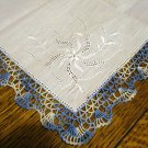 Blue crocheted lace edge white linen hanky whitework threadwork vintage unused ll2811