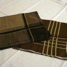 2 Men's cotton hankerchiefs brown stripes windowpane check excellent vintage ll2816