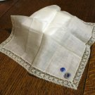 Society Dame Irish linen hanky imported cotton lace edge unused vintage ll2818
