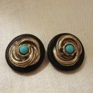 Clip earrings turquoise silver swirl on rubber disc vintage ll2827