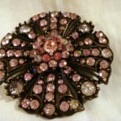 Pink rhinestones brooch pin set in copper rose window setting vintage ll2852