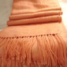 Alpaca long fringed muffler or peach scarf brushed wool unused preowned  ll2876